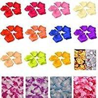 RaiFu 造花 人工花びら 新しい1000個の様々なマルチカラーシルクローズフラワー花びら結婚式パーティーウェディングホワイト+ブルー 1000pcs