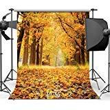 sjoloon秋景色10x 10ftビニール写真バックドロップツリーとFall Leaves写真背景Studio小道具10590