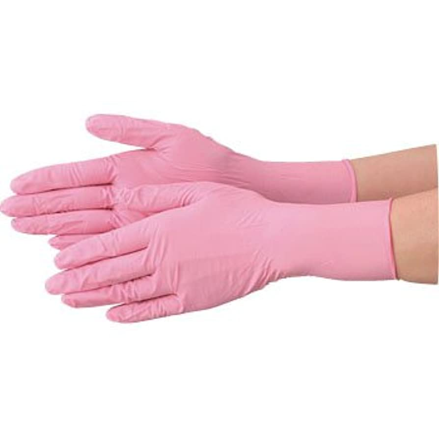 メカニック側面試す使い捨て 手袋 エブノ 570 ニトリル ピンク Lサイズ パウダーフリー 2ケース(100枚×60箱)