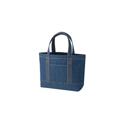 デニムライン トートバッグ(M) フロントポケットタイプ A4サイズ マチあり レディース メンズ 手提げ 鞄 ランチバッグ エコバッグ レッスンバッグ (インディゴ)