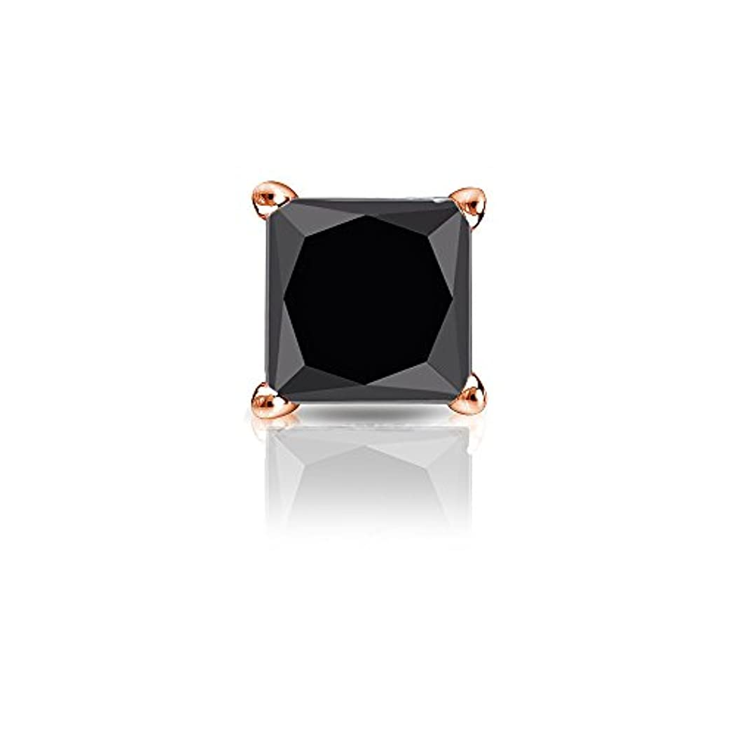 写真を描くピニオン変更可能14 Kゴールド4プロングMartiniプリンセスブラックダイヤモンドシングルスタッドイヤリング( 1 / 4 – 2 ct、ブラック安全ロックBack Disc
