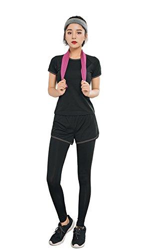 [BRRAEL] ヨガウェア レディース スーツ ブラ 半袖Tシャツ レギンスパンツ 4点セット フィットネス 吸汗 速乾 通気 (M, グレー)