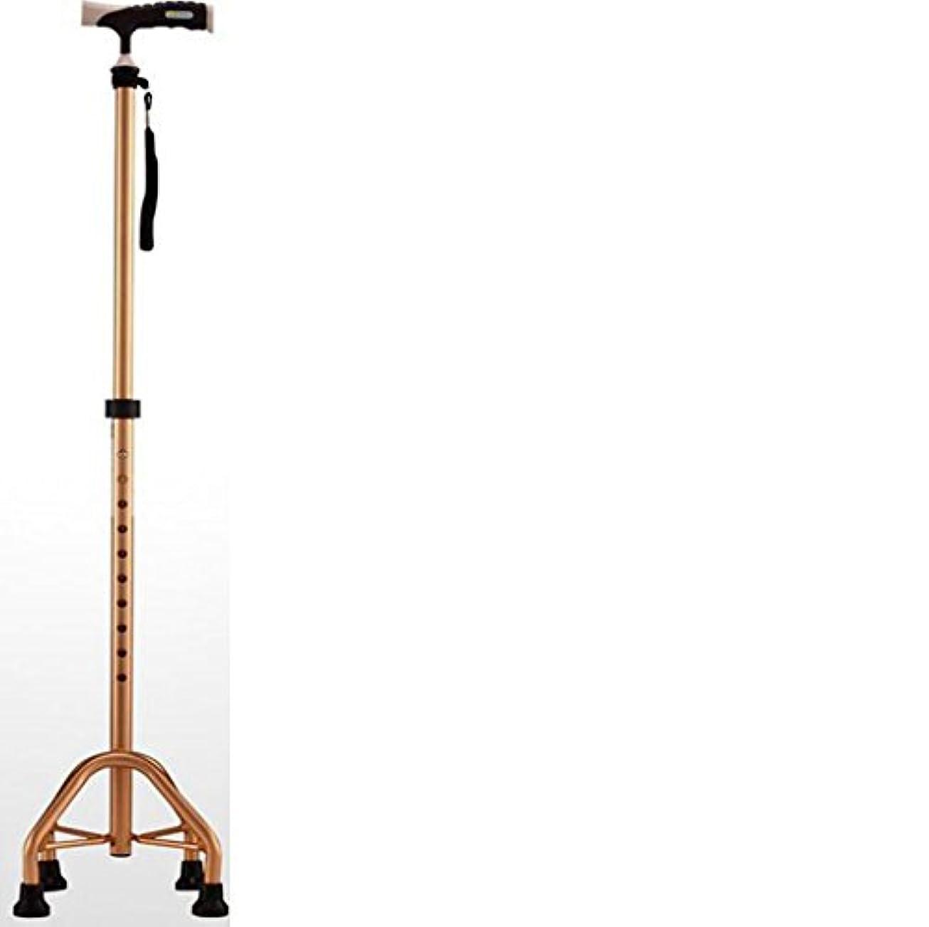 指令迅速充実調整可能な四角い杖 - 男性と女性のための軽量ケーン - 伸縮自在のケーンオールドウォーカー(金の曇り)