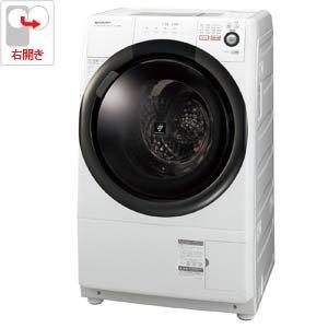 シャープ 6.0kg ドラム式洗濯乾燥機【右開き】ホワイト系SHARP プラズマクラスター洗濯乾燥機 ES-S60-WR