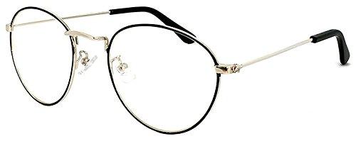 (PAGEBOY) ダテ眼鏡 UVカット クリアサングラス py6407( カラー1ブラック&ゴールド )ページボーイ 伊達メガネ レディース メンズ ティアドロップ型 細フレーム メタル