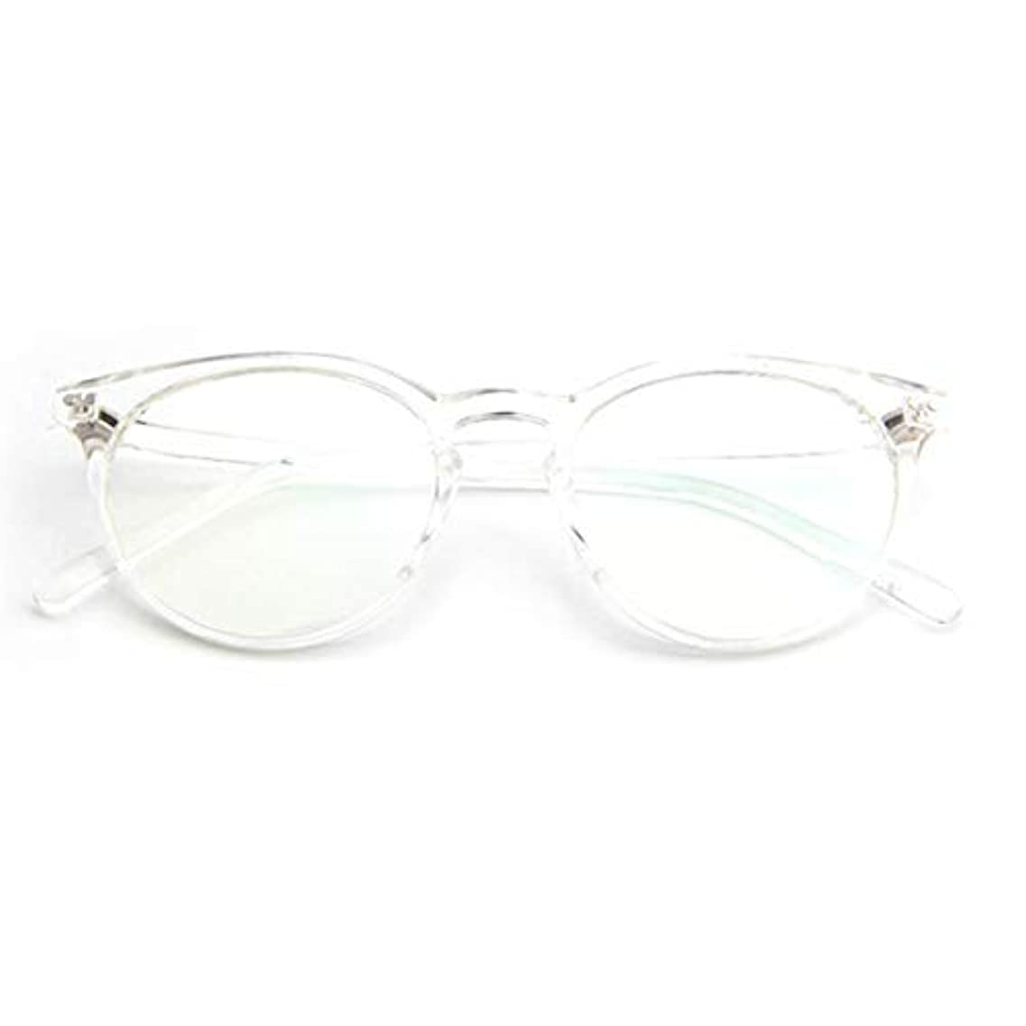 コンプライアンスほこり発生器小さな新鮮な米ネイルフレームレンズレトロ古風な円形フレームファッションフレーム男性用近視眼鏡女性-透明な白