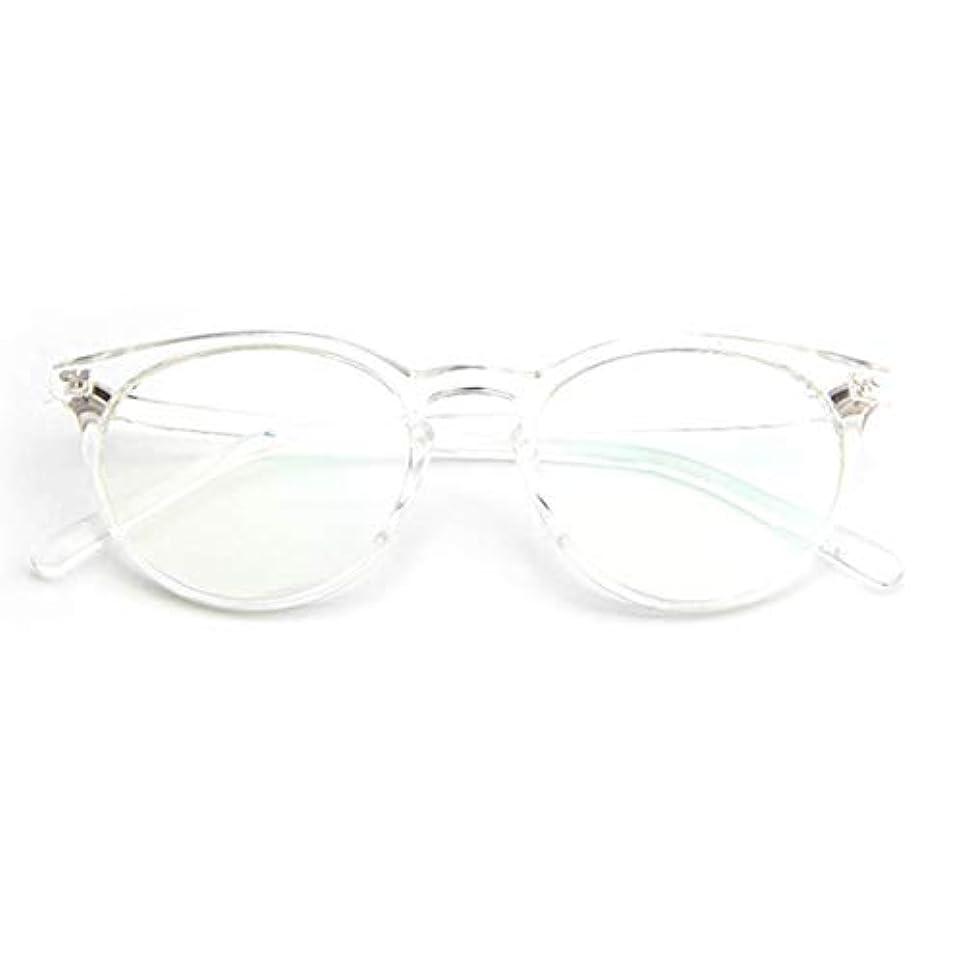 パーティション矢じり調停する小さな新鮮な米ネイルフレームレンズレトロ古風な円形フレームファッションフレーム近視眼鏡男性女性-透明な白-