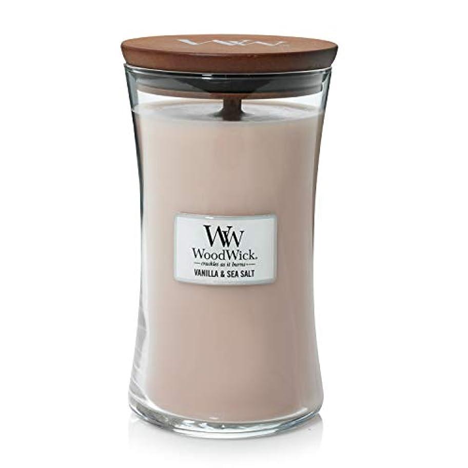 不器用タイムリーな緩むVANILLA SEA SALT WoodWick 650ml Large Hourglass Jar Candle Burns 180 Hours