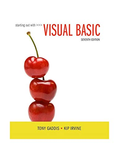 Download Starting Out With Visual Basic (7th Edition) 0134400151
