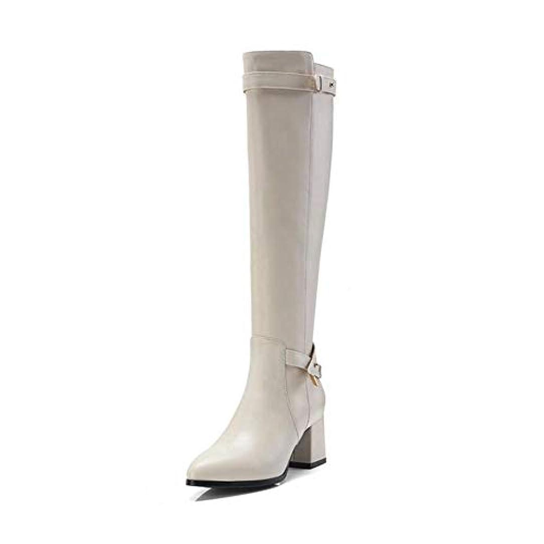 承認スポーツハリケーン女性の靴、秋冬の快適さ/ファッションブーツ、厚いハイヒール女性ハイブーツ秋冬セクシーブーツレディースロングスノーブーツ (色 : ベージュ, サイズ : 37)