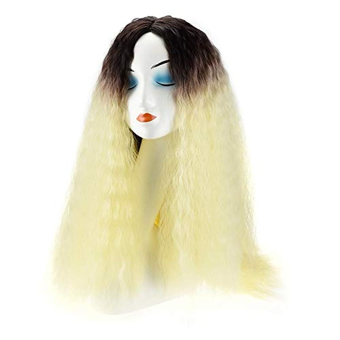 嵐選択休暇WASAIO スタイル交換繊維合成ビッグウェーブロングヘア用20インチブロンド変態ストレートコーンホットウィッグファッションアクセサリー (色 : Blonde)
