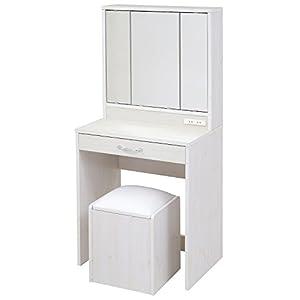 JKプラン 三面鏡 ドレッサー 幅60 隠し収納庫付 椅子 付き メイク ドレッサー 収納 メイク台 鏡台 3面鏡 化粧台 コンパクト 姫 コンセント付き ホワイト 白 FLL0061WH