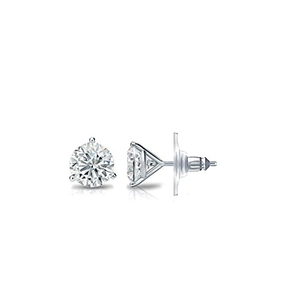 対話発音する国際14 KゴールドメンズラウンドダイヤモンドSimulant CZスタッドイヤリング3-prong ( 1 / 4 – 2 Cttw、優れた品質)
