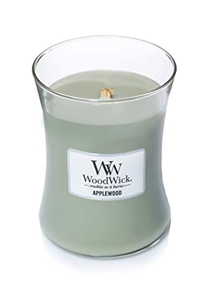 腕報酬治す(300ml, Green) - Woodwick Jar Candle (Medium) (Applewood)