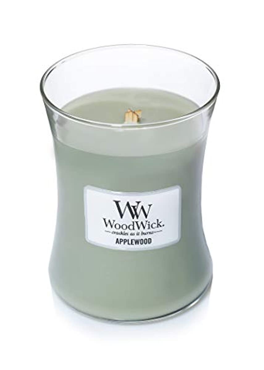 十分です予防接種する階(300ml, Green) - Woodwick Jar Candle (Medium) (Applewood)