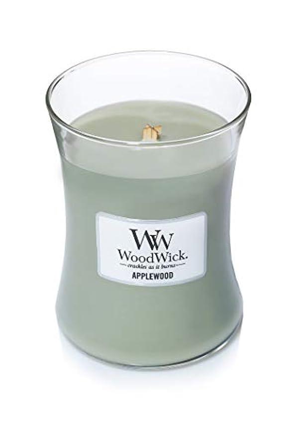 プラス抽象印をつける(300ml, Green) - Woodwick Jar Candle (Medium) (Applewood)