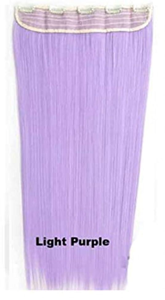 カスタム吹雪責任JIANFU 合成ヘアエクステンションヘアカラーグラデーションウィッグピースで5クリップロングストレートヘアピース60cm (Color : Light purple)