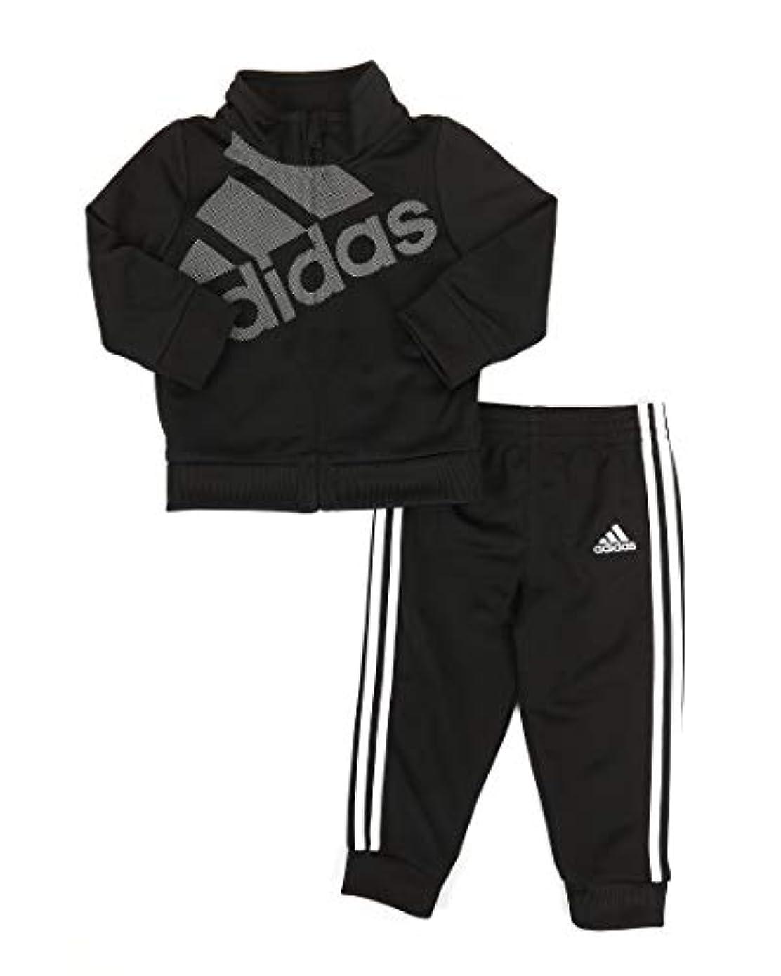つぶす男らしい赤面Adidas ガールズ トリコット ジップ ジャケットとパンツセット