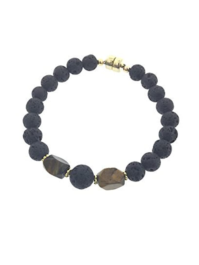 スタイル昼寝ラダTiger-eye and Lava Essential Oil Diffuser Bracelet with Gold-Filled Rare Earth Magnetic Clasp - XLarge [並行輸入品]