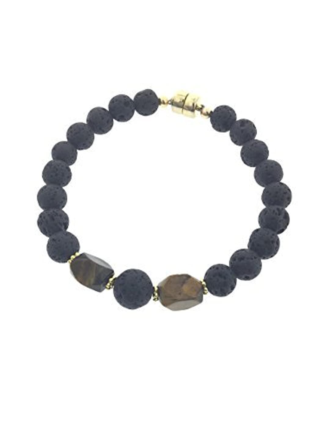 評議会センサーグレートバリアリーフTiger-eye and Lava Essential Oil Diffuser Bracelet with Gold-Filled Rare Earth Magnetic Clasp - XLarge [並行輸入品]