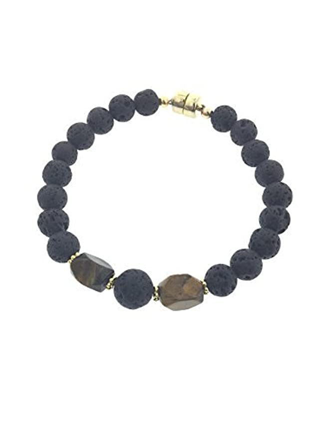 とても多くの危機ハグTiger-eye and Lava Essential Oil Diffuser Bracelet with Gold-Filled Rare Earth Magnetic Clasp - XLarge [並行輸入品]