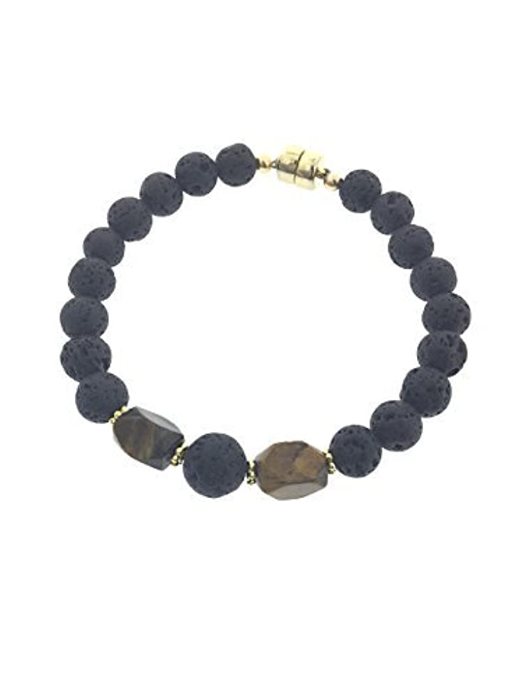 地平線スカリーいらいらさせるTiger-eye and Lava Essential Oil Diffuser Bracelet with Gold-Filled Rare Earth Magnetic Clasp - LARGE [並行輸入品]