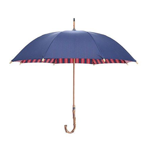 obolts 耐風撥水加工長傘 Teflon加工 210T最高級の生地採用 晴雨兼用傘 レディースにも適用 竹の持ち手 ユニックな設計 8本骨 直径93cm - 青