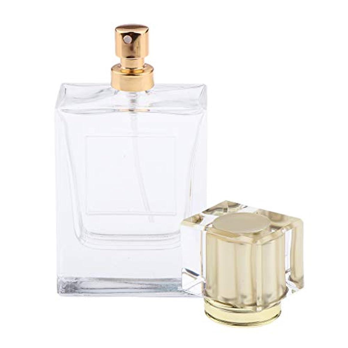 遠洋の脱走バラ色香水瓶 化粧ボトル 透明ガラス ポンプスプレーボトル 手作りコスメ 4色選べ - ゴールド
