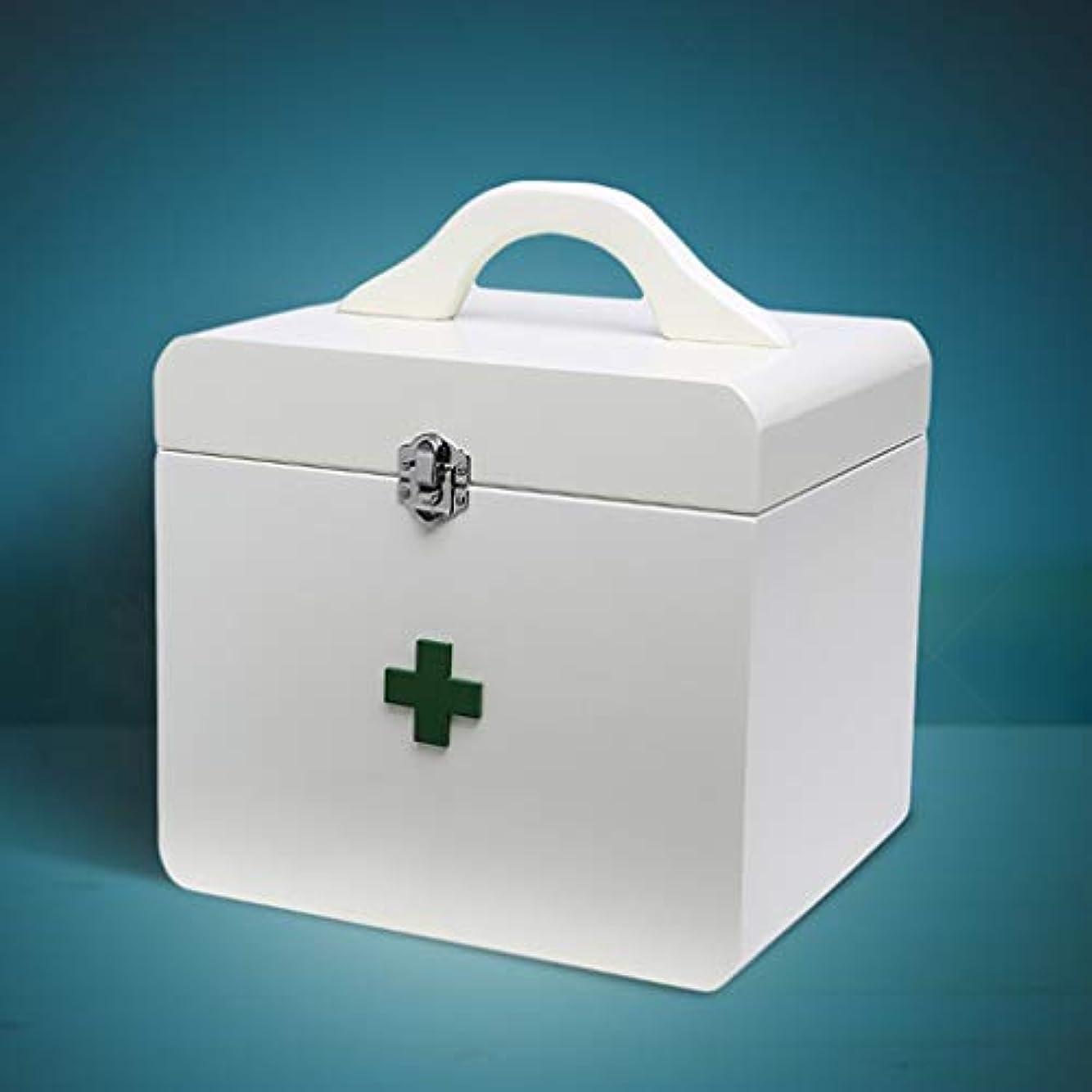 風味評論家適応的家庭用薬箱木の薬箱健康ボックス赤ちゃん子供薬収納ボックス 薬箱 (Color : White, Size : 22cm×17.5cm×24.5cm)