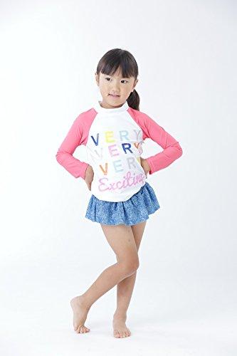 【Peach Kids】ピンクデニム 水着 女の子長袖 ラッシュガード セット 子供 セパレート (L,110cm)