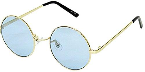 サングラス ラウンド型 UVカット 丸型 フレーム 伊達メガネ 伊達眼鏡 ブルー レンズ メンズ レディース おしゃれ 人気