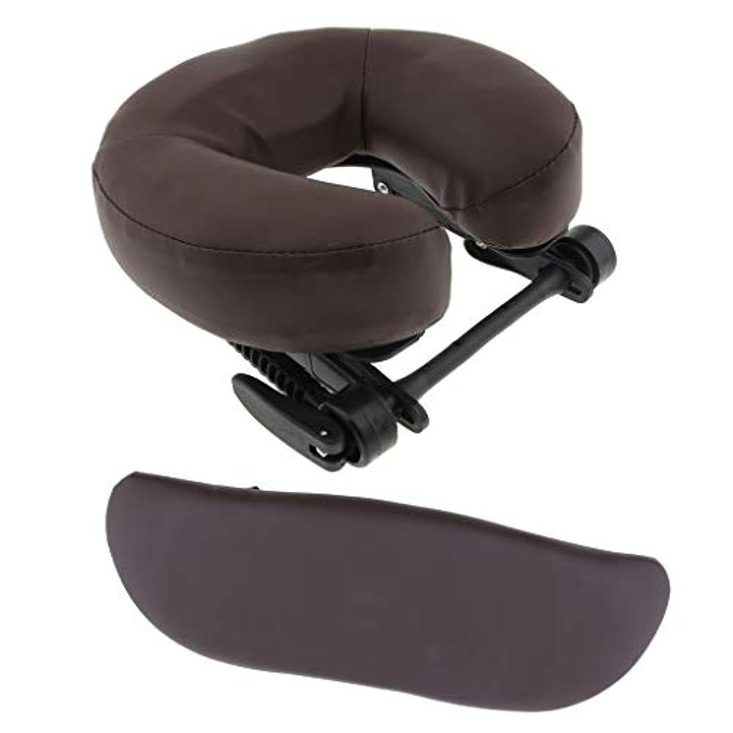 アピール傾斜教マッサージ クッション 枕 サポートピロー U型枕 調整可能ベース アームサポート 3点セット 全3色 - 褐色