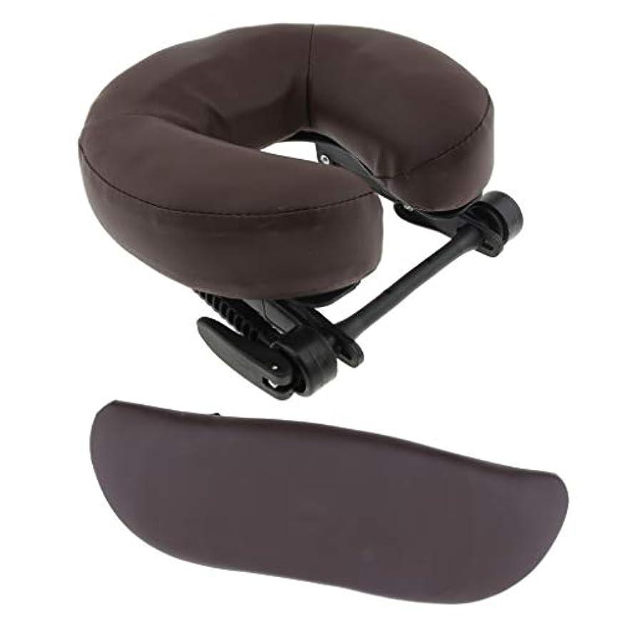 天の単独でぶどうP Prettyia マッサージ クッション 枕 サポートピロー U型枕 調整可能ベース アームサポート 3点セット 全3色 - 褐色