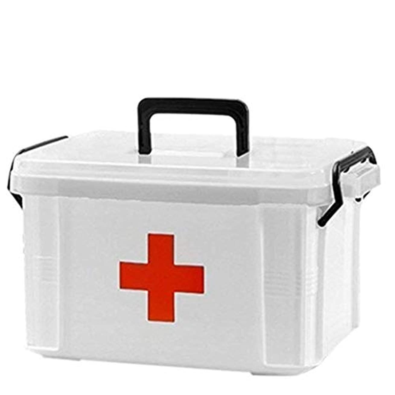 成功した腸程度JXXDDQ 応急処置キットボックスケース、救急薬収納ボックス2層プラスチッククリア応急処置容器家族医学ホルダーキャビネット家庭用医療箱24 x 17.5 x 14 cm