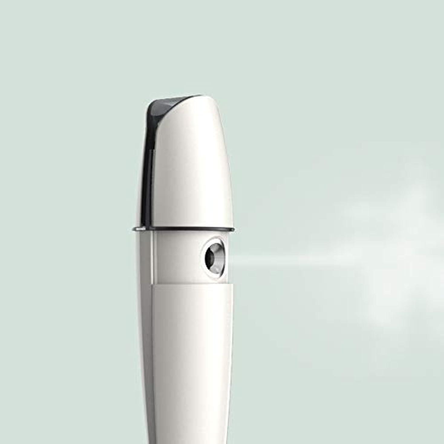 ZXF 充電式コールドスプレー機家庭用スチームフェイス美容機器ナノスプレーフェイス加湿水道メーターホワイトABS素材 滑らかである