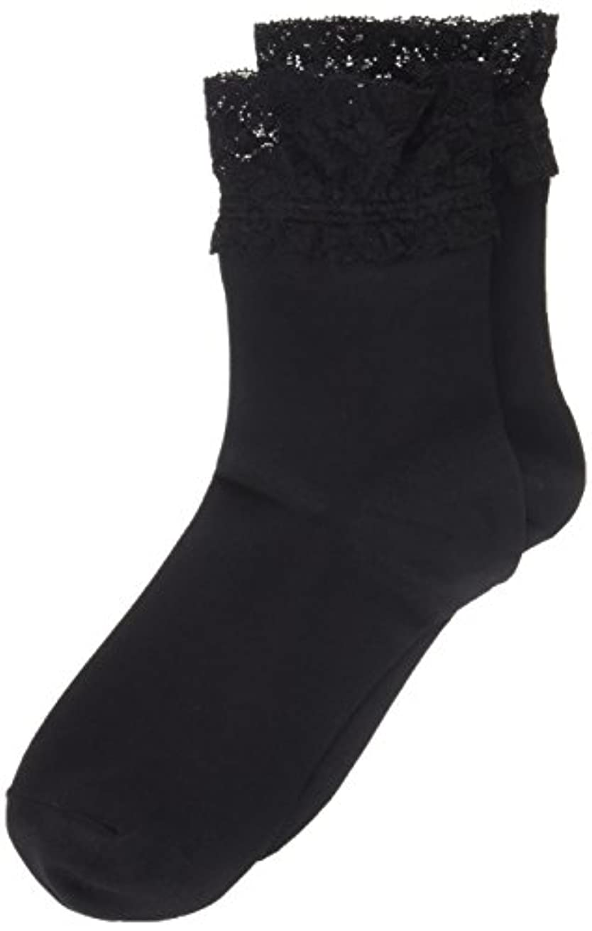 アニメーションスリチンモイ発掘AR0213 ミセススニーカーソックス(婦人靴下) ゆったりはきやすい 22-24cm ブラック