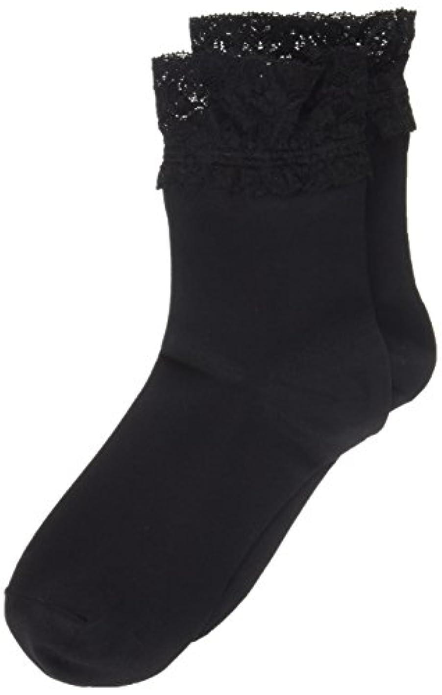 辛い表向きここにAR0213 ミセススニーカーソックス(婦人靴下) ゆったりはきやすい 22-24cm ブラック