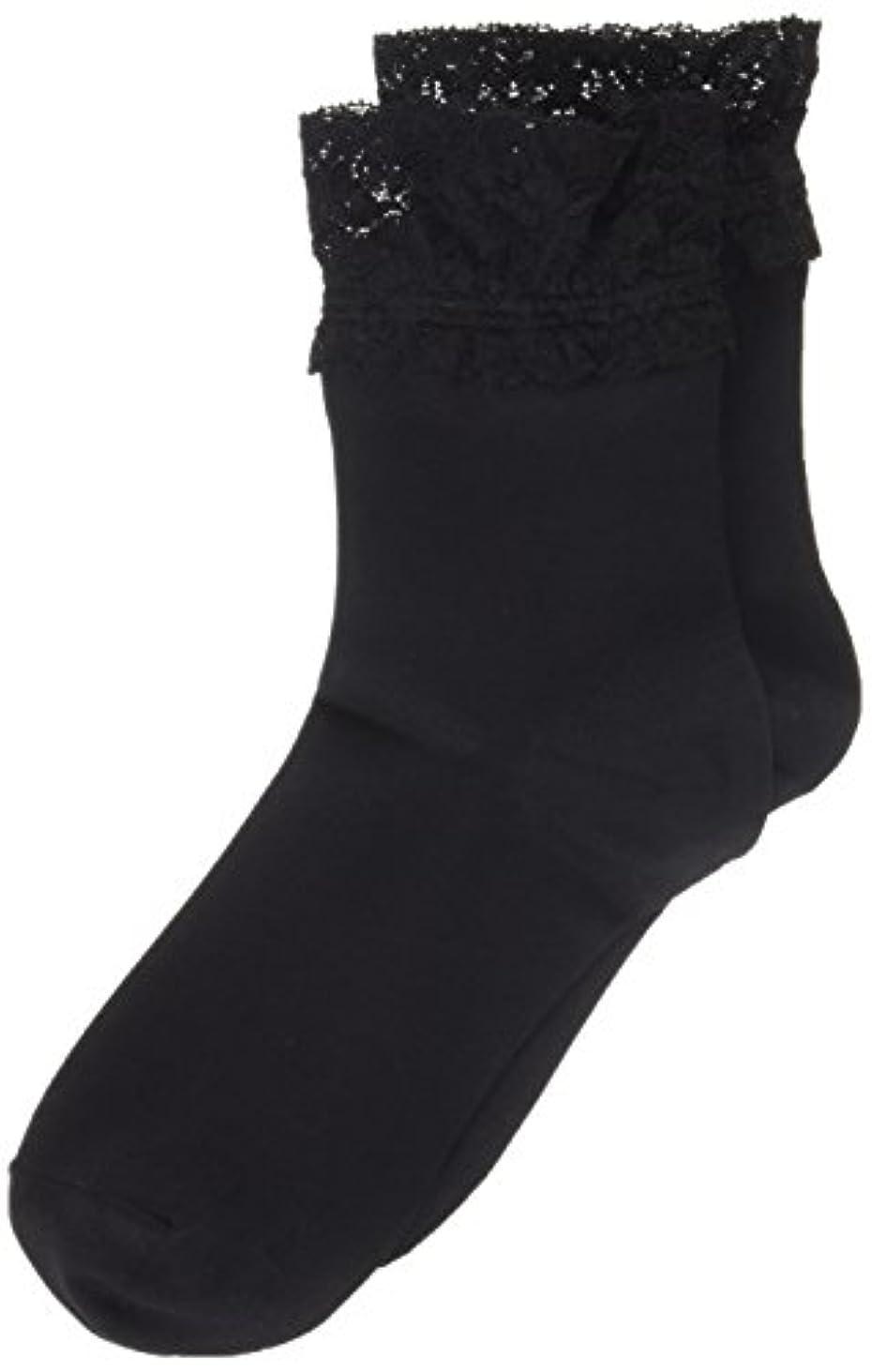 事前慣れる運賃AR0213 ミセススニーカーソックス(婦人靴下) ゆったりはきやすい 22-24cm ブラック