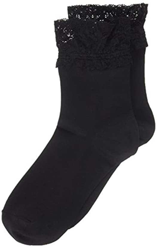 ブランド虚栄心固めるAR0213 ミセススニーカーソックス(婦人靴下) ゆったりはきやすい 22-24cm ブラック