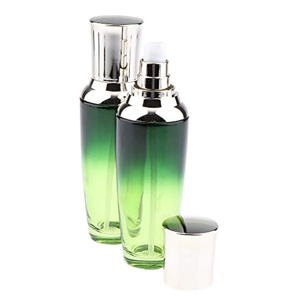バルク青写真影のある全3サイズ 小分け容器 詰め替 ポンプボトル ガラスボトル 化粧品容器 ガラス製 2個入り - 100ミリリットル