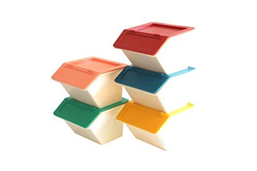 「スタックストー」 収納ボックス ペリカンプチ5ヶセット ポップ (レッド、イエロー、ブルー、ピンク、グリーン)