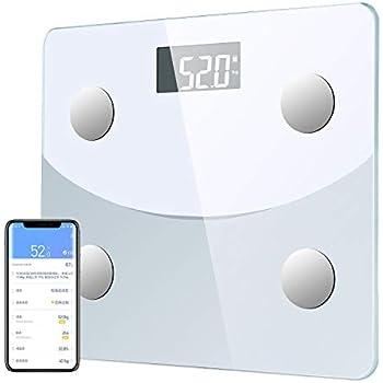 体重計 体組成計体脂肪計 Bluetoothスマホ対応 体脂肪率やBMI/体重/基礎代謝など測定できる ダイエットや健康管理に役立つ 収納便利 180 kgまで 日本語説明書付き (ホワイト)