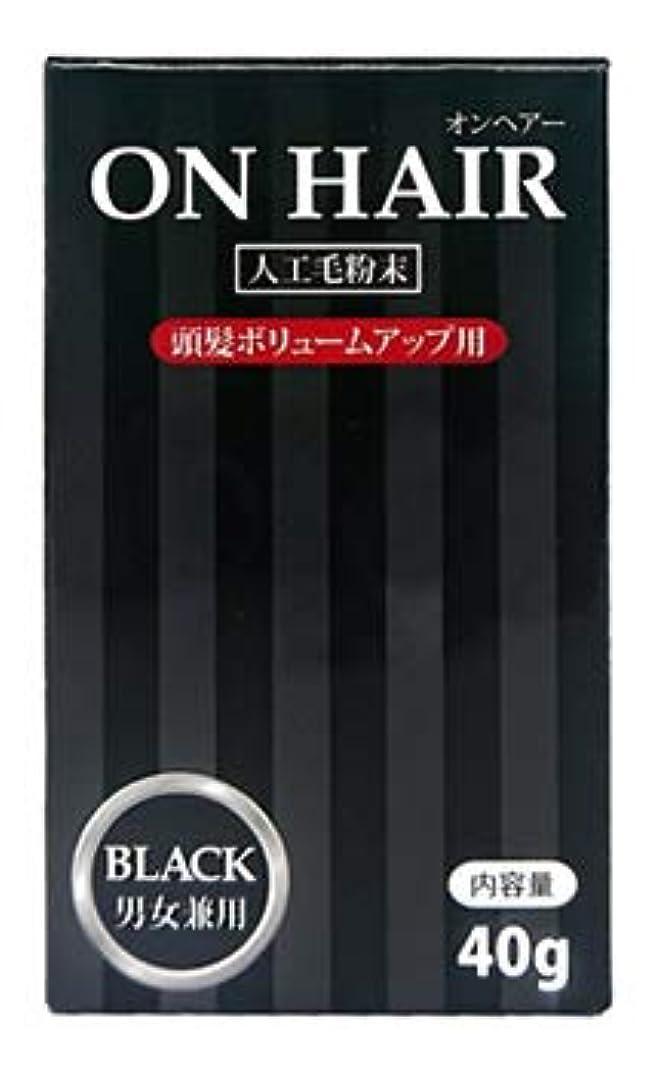 オンヘアー ON HAIR 人工毛粉末 ブラック 男女兼用 (40g) 頭髪ボリュームアップ用