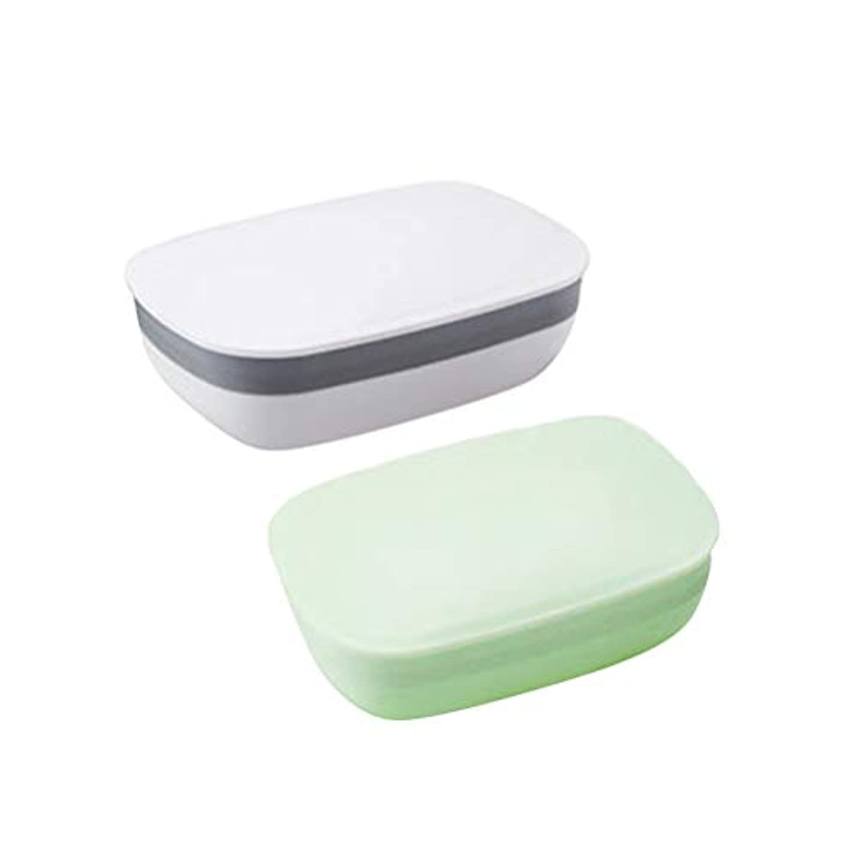最初に国内の人生を作るHealifty 旅行用ふた付きソープディッシュ防水ソープボックスコンテナ2個入り(ホワイト+グリーン)