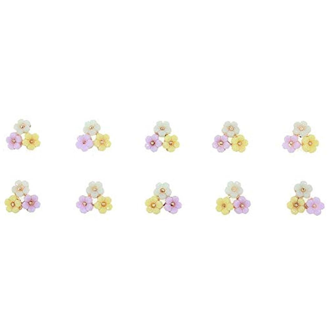 タービンジェーンオースティンダッシュ3D合金ネイルアート10個/ロット3花カラフルマニキュアアクセサリー用グリッターストラス装飾用チャームネイル