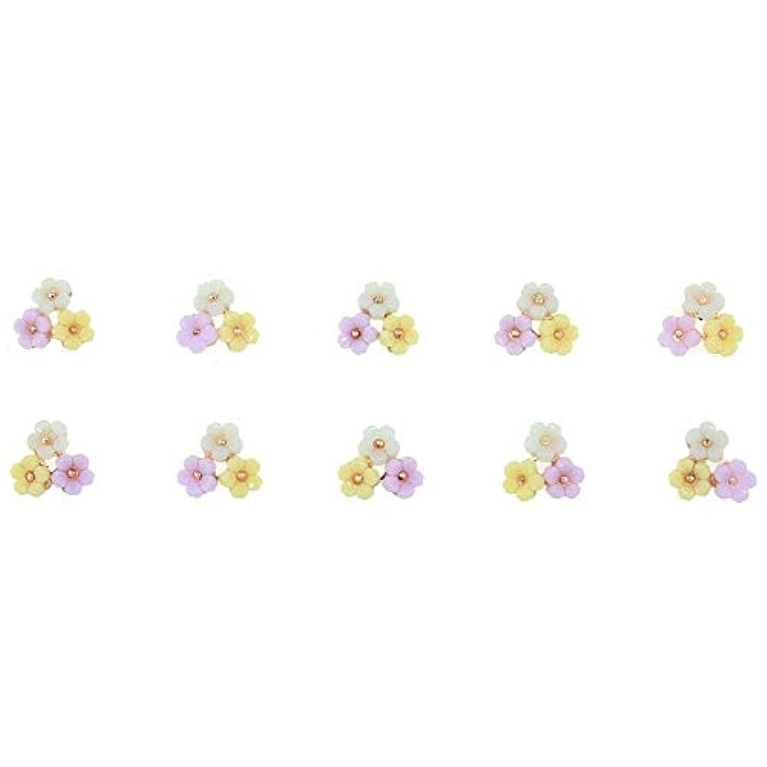 3D合金ネイルアート10個/ロット3花カラフルマニキュアアクセサリー用グリッターストラス装飾用チャームネイル