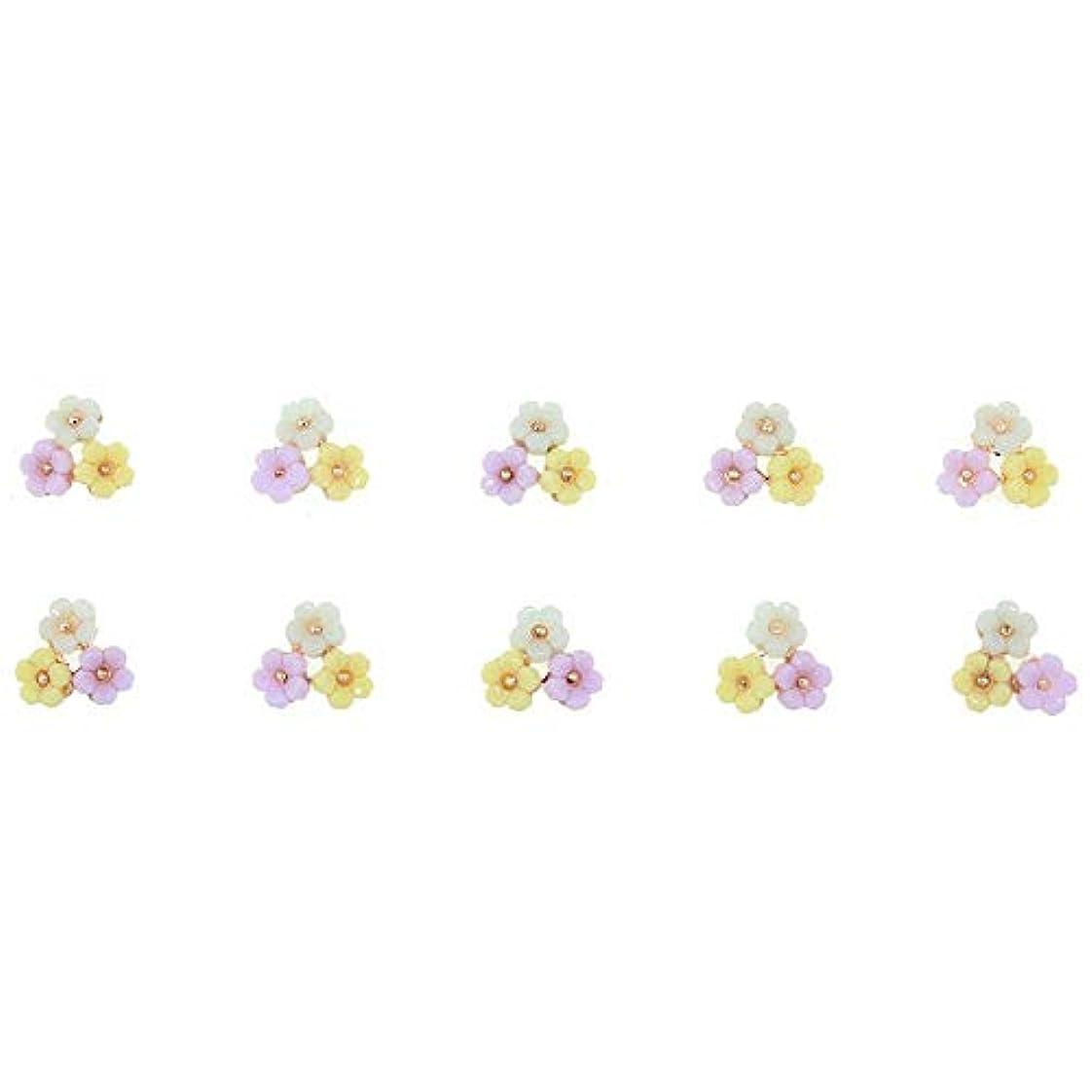 金貸し穏やかなスプーン3D合金ネイルアート10個/ロット3花カラフルマニキュアアクセサリー用グリッターストラス装飾用チャームネイル