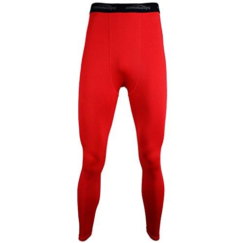 (クールオーエムジー)COOLOMG ロング スポーツタイツ UVカット 吸汗 速乾 コンプレッション ストレッチ アンダーウェア メンズ レッド L