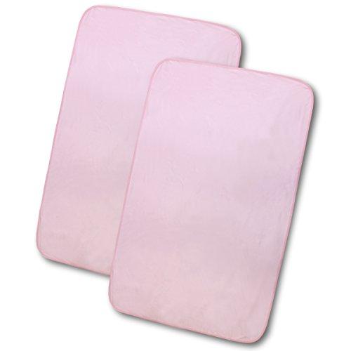 doudou 3層防水シーツ 防水&はっ水加工 (90×145cm) 2枚組 スムース生地 No.1693(H&B) ピンク