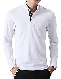 Yookie ポロシャツ メンズ 長袖 Tシャツ poloシャツ ボタン ヘンリーネック 綿 3釦仕様です 立っている襟 通気性 薄手 春 秋 カジュアル 秋服 トップス T072